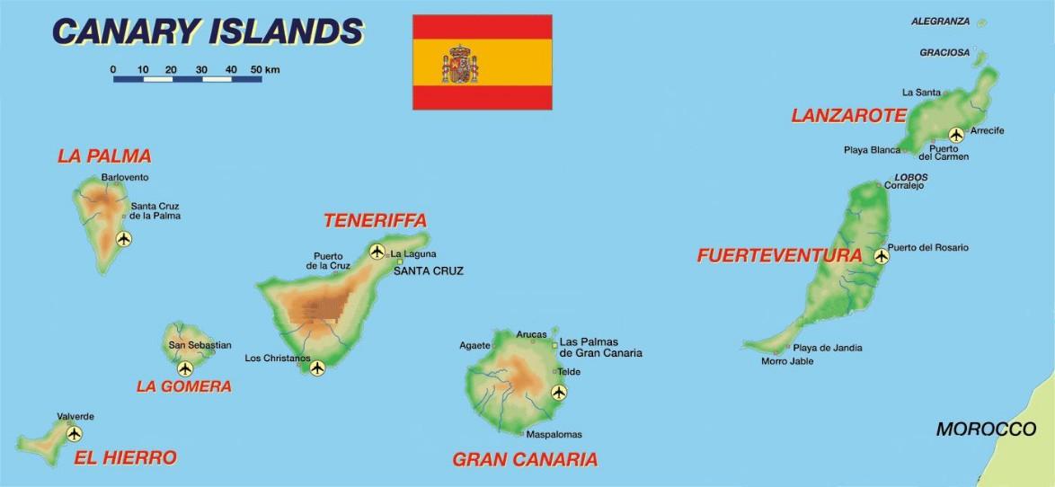 Isole Gran Canarie Cartina.Spedizioni Roma Canarie Spedizione Pacchi Isole Canarie
